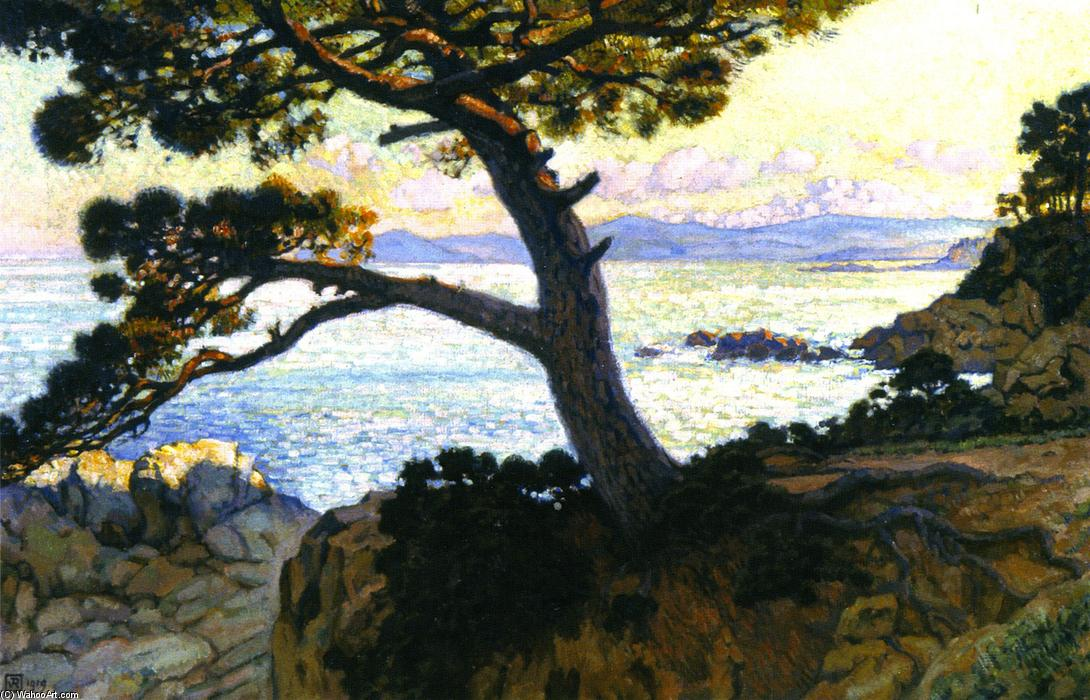 Pine at La Fossette, Sunset, 1919 by Theo Van Rysselberghe (1862-1926, Belgium) | Oil Painting | WahooArt.com