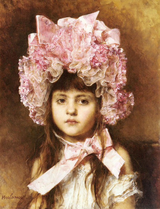 The Pink Bonnet by Alexei Alexeievich Harlamoff (1840-1925, Russia) | Famous Paintings Reproductions | WahooArt.com