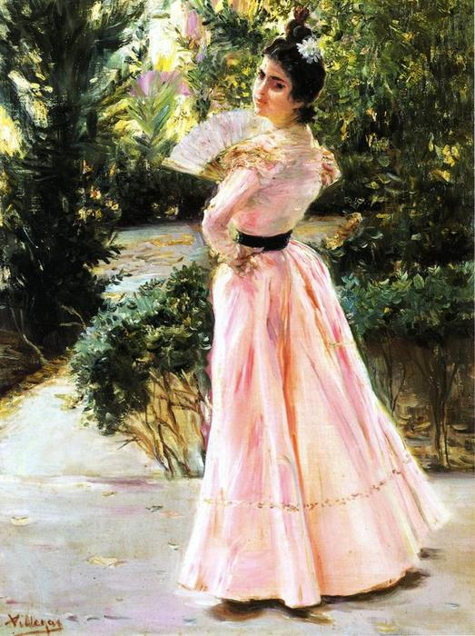 Order Art Reproductions | The Pink Fan by José Villegas Cordero (1844-1921, Spain) | WahooArt.com