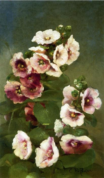 Order Paintings Reproductions | Pink Hollyhocks, 1885 by Charles Ethan Porter (1847-1923, United States) | WahooArt.com