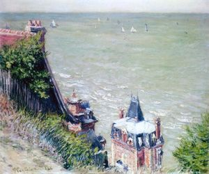 Gustave Caillebotte - Pink Villas at Trouville - (Famous paintings reproduction)