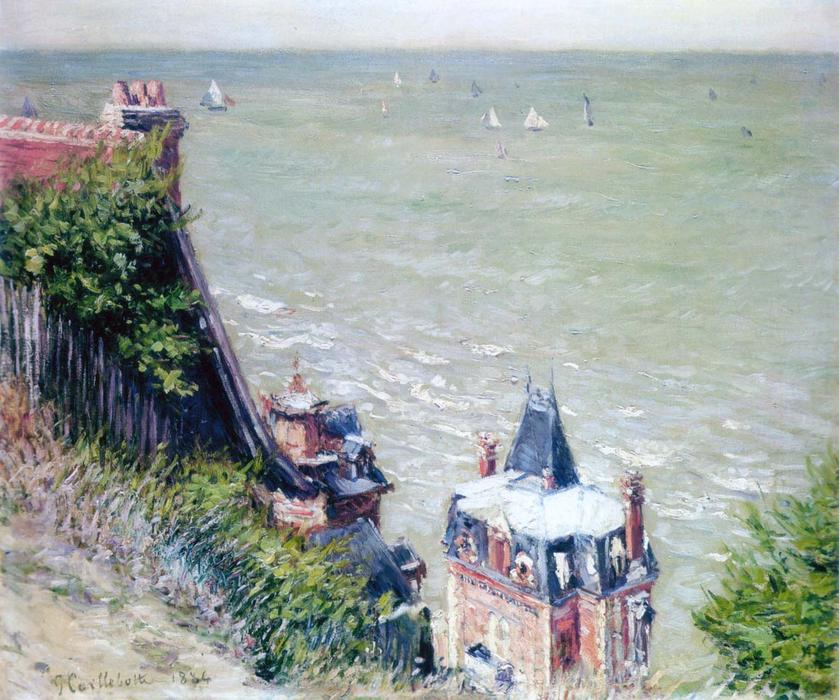 Pink Villas at Trouville, 1884 by Gustave Caillebotte (1848-1894, France) | Painting Copy | WahooArt.com