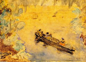 Frederick Carl Frieseke - The Pirogue (also known as Canoeing, Florida)