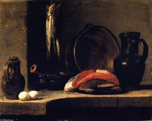 Jean-Baptiste Simeon Chardin - A Pitcher, Two Eggs, a Casserole, Three Herrings, a Copper Pot, A Slice of Fish and a Jug