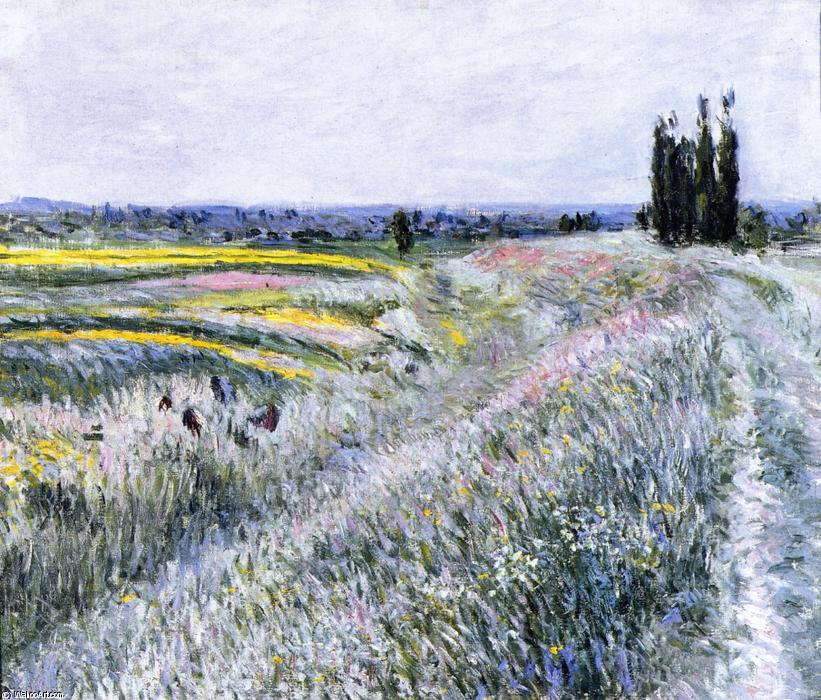 The Plain at Gennevilliers, Group of Poplars, 1883 by Gustave Caillebotte (1848-1894, France) | WahooArt.com