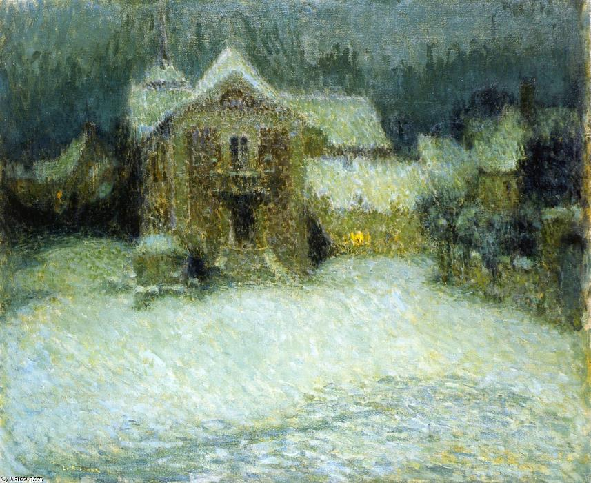 A Plaza in the Snow at Gerberoy, Oil On Canvas by Henri Eugène Augustin Le Sidaner (1862-1939, Mauritius)