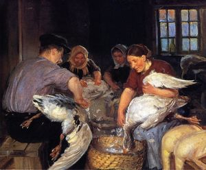 Anna Ancher - Plucking the Christmas Goose