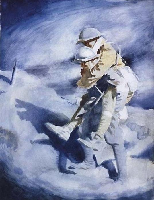 Poilu and Tommy by William Newenham Montague Orpen (1878-1931, Ireland)