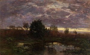 Eugène Louis Boudin - Pond at Sunset