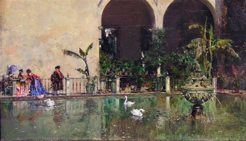 Pond in the gardens of the Real Alcazar of Seville, Oil On Canvas by Raimundo De Madrazo Y Garreta (1841-1920, Italy)