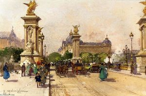 Eugene Galien Laloue - The Pont Alexandre III and the Grand Palais