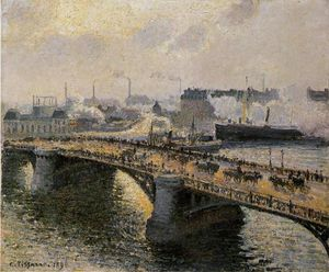Camille Pissarro - The Pont Boieldieu , Rouen: Sunset, Misty Weather