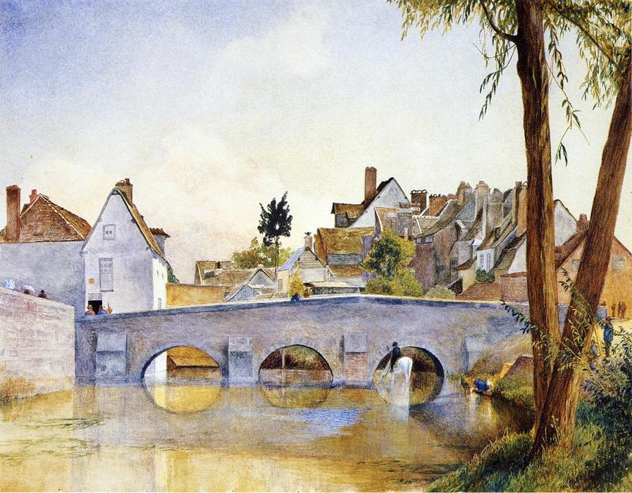 Pont de Minimes, Chartres, Watercolour by Henry Roderick Newman (1833-1918, United States)