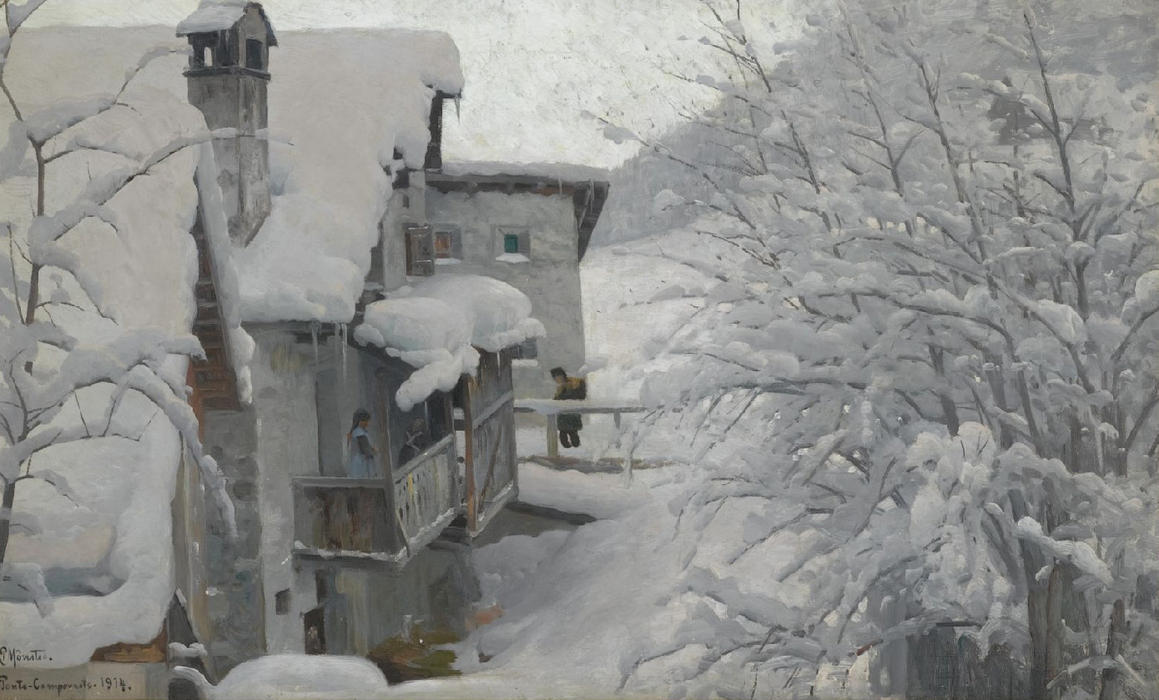 Order Oil Painting : Ponte-Campovasto, 1914 by Peder Mork Monsted (1859-1941, Denmark) | WahooArt.com