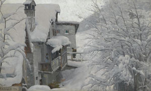 Order Framed Giclee Ponte-Campovasto, 1914 by Peder Mork Monsted (1859-1941, Denmark) | WahooArt.com | Order Print On Canvas Ponte-Campovasto, 1914 by Peder Mork Monsted (1859-1941, Denmark) | WahooArt.com
