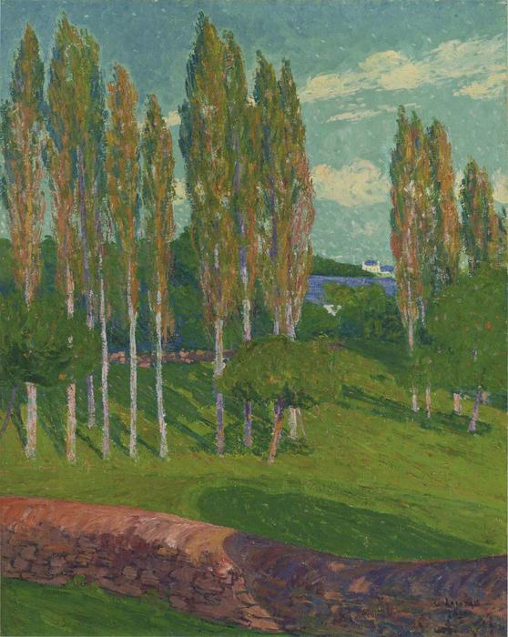 Poplars in Spring by Gustave Loiseau (1865-1935, France) | Painting Copy | WahooArt.com