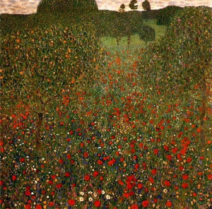 Poppy Field, Oil On Canvas by Gustav Klimt (1862-1918, Austria)