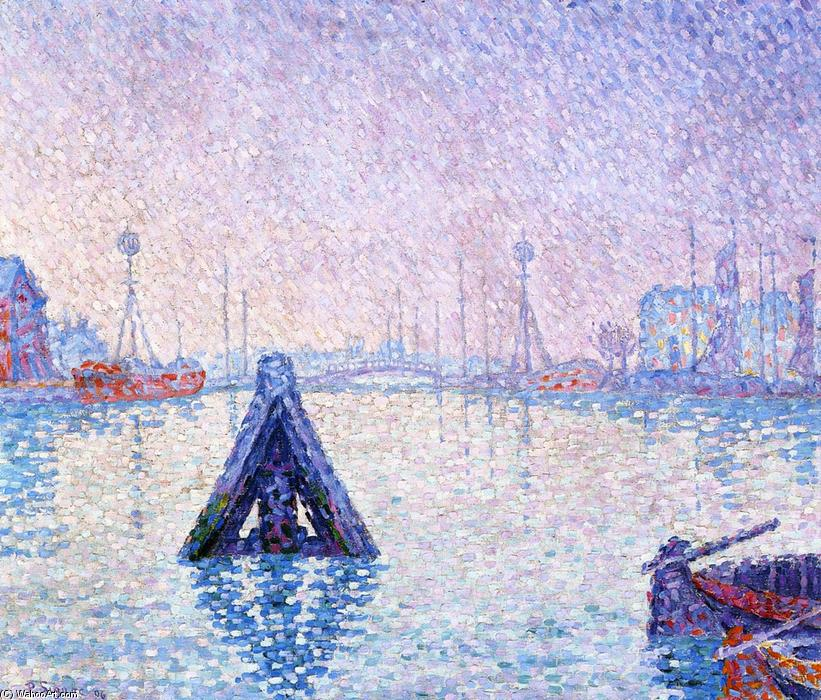 The Port at Vlissingen, Boats and Lighthouses, 1896 by Paul Signac (1863-1935, France) | Oil Painting | WahooArt.com
