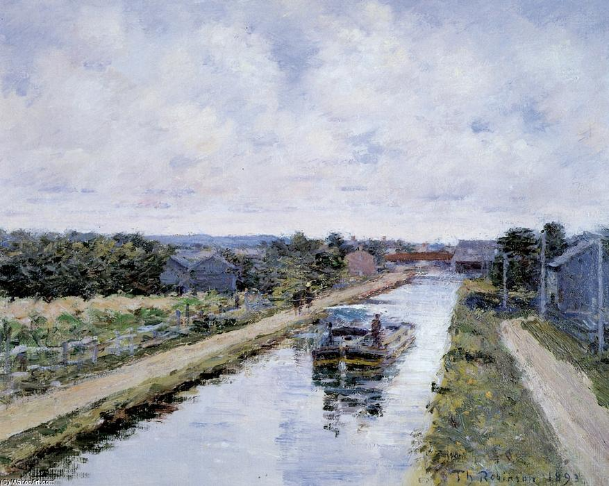 Port Ben, Delaware and Hudson Canal, 1893 by Theodore Robinson (1852-1896, United States) | Art Reproduction | WahooArt.com