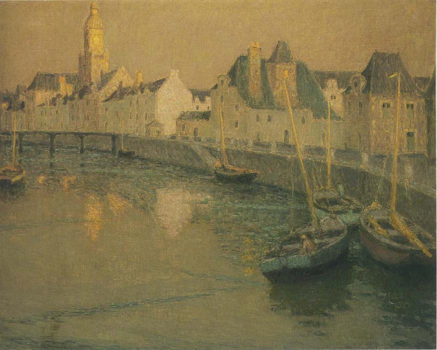 Port Croisic in full moon, Oil On Canvas by Henri Eugène Augustin Le Sidaner (1862-1939, Mauritius)