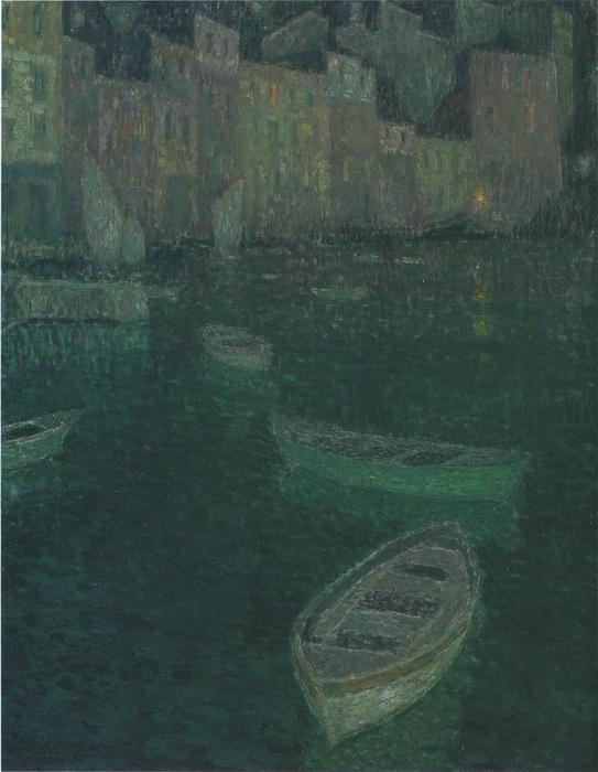Port in Full Moon, Oil On Canvas by Henri Eugène Augustin Le Sidaner (1862-1939, Mauritius)