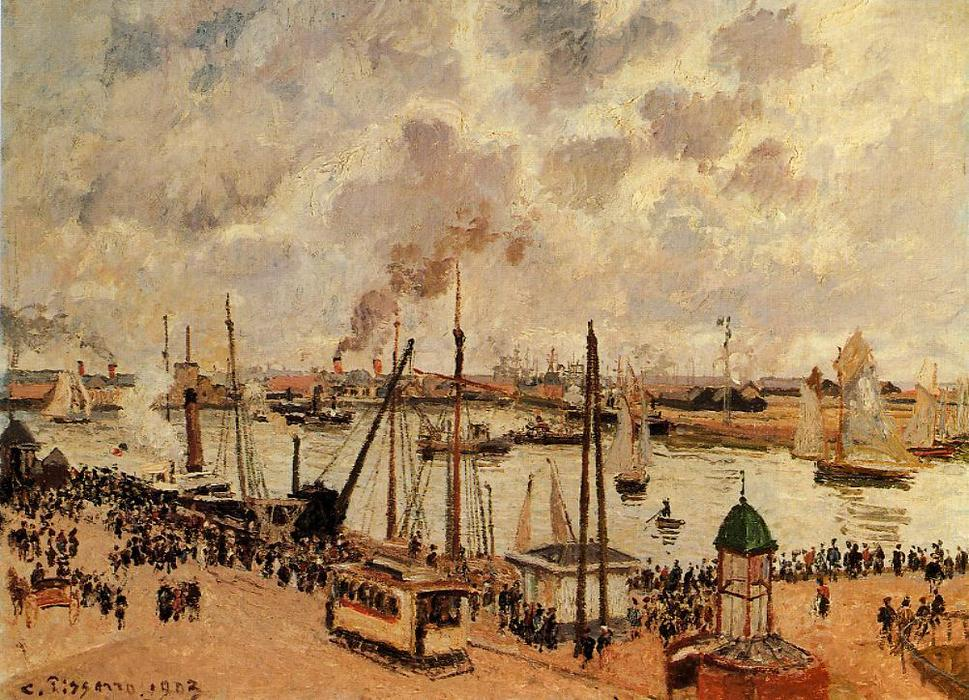 The Port of Le Havre, Oil On Canvas by Camille Pissarro (1830-1903, United States)