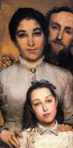 Lawrence Alma-Tadema - Portrait of Aime-Jules Dalou, His Wife and Daughter