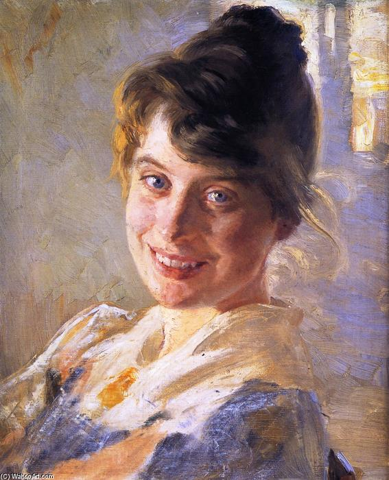 Portrait of the Artist`s Wife Marie, 1889 by Peder Severin Kroyer (1851-1909, Norway) | Famous Paintings Reproductions | WahooArt.com
