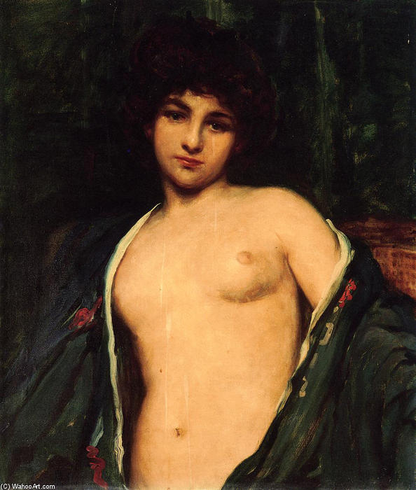 Portrait of Evelyn Nesbitt, 1901 by James Carroll Beckwith (1852-1917, United States) | Reproductions James Carroll Beckwith | WahooArt.com