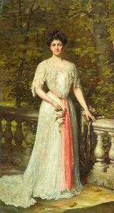 Thomas Benjamin Kennington - A portrait of a lady in a white dress with a pink sash by a balustrade