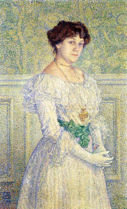 Portrait of Laure Fle, 1898 by Theo Van Rysselberghe (1862-1926, Belgium) | Art Reproduction | WahooArt.com