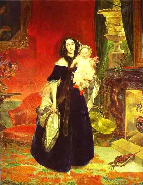 Portrait of M. A. Beck and Her Daughter M.I. Beck, 1840 by Karl Pavlovich Brulloff | Painting Copy | WahooArt.com