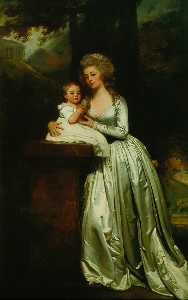 George Romney - Portrait of Mary Rutledge Smith and Son Edward
