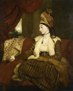 Joshua Reynolds - Portrait of Mrs. Baldwin Full-Length, Seated on a Red Divan