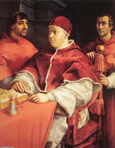Raphael (Raffaello Sanzio Da Urbino) - Portrait of Pope Leo X and Two Cardinals