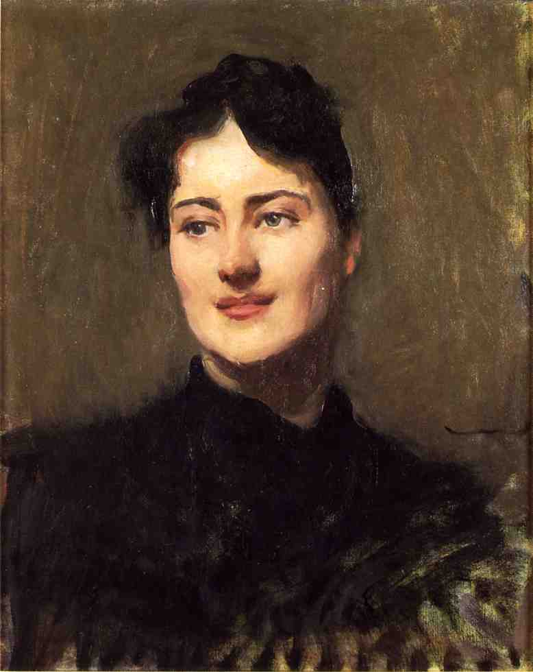 Portrait of a Woman, Oil On Canvas by Dennis Miller Bunker (1861-1890, United States)