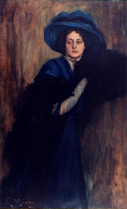 Portrait of a woman in blue by Raimundo De Madrazo Y Garreta (1841-1920, Italy)