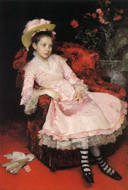 Portrait of a young girl in pink dress by Raimundo De Madrazo Y Garreta (1841-1920, Italy) | Oil Painting | WahooArt.com