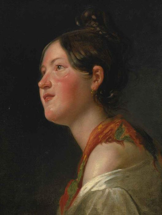 Portrait of a young girl in profile by Friedrich Ritter Von Amerling (1803-1887) | Museum Quality Reproductions | WahooArt.com