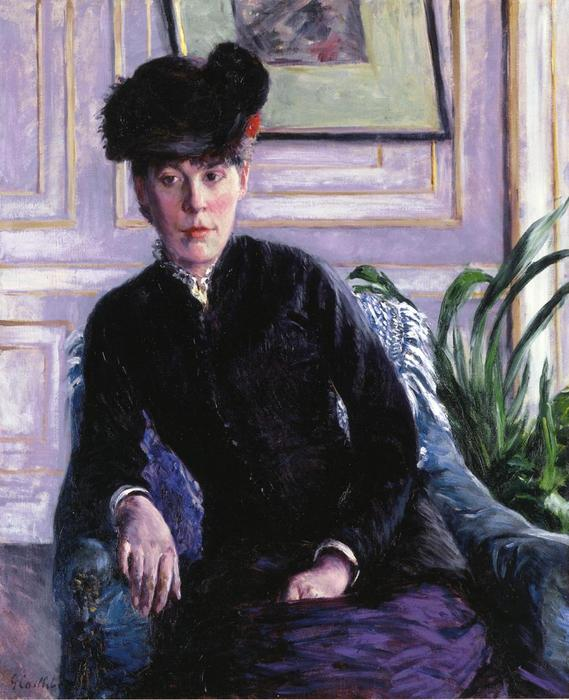 Portrait of a Young Woman in an Interior (also known as Portrait of Madame H), Oil On Canvas by Gustave Caillebotte (1848-1894, France)