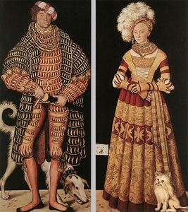 Lucas Cranach The Elder - Portraits of Henry the Pious, Duke of Saxony and his wife Katharina von Mecklenburg