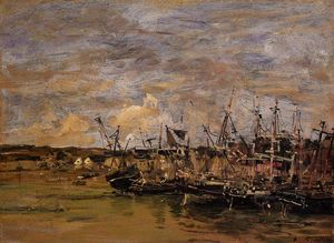 Eugène Louis Boudin - Portrieux, Fishing Boats at Low Tide