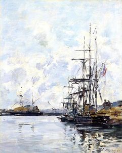 Eugène Louis Boudin - Port, Sailboats at Anchor