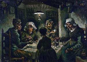 Vincent Van Gogh - The Potato Eaters - (Famous paintings reproduction)