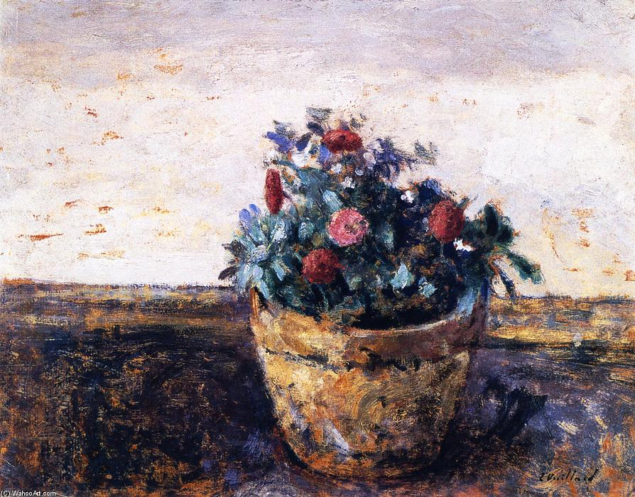 Pot of Flowers, Oil On Panel by Jean Edouard Vuillard (1868-1940, France)