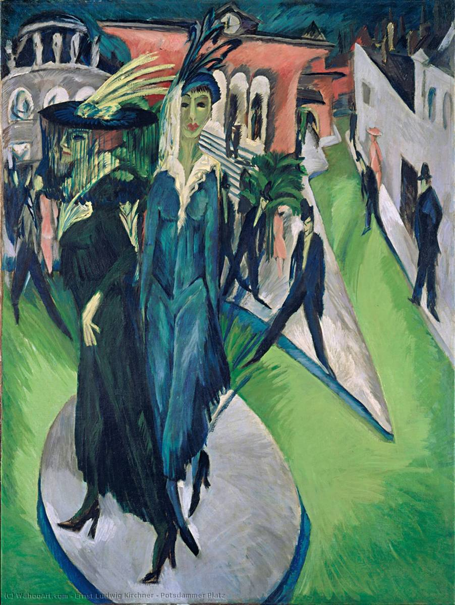 Potsdammer Platz, Oil On Canvas by Ernst Ludwig Kirchner (1880-1938, Germany)