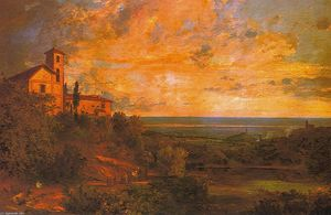 Jasper Francis Cropsey - Procession at Nemi, Italy