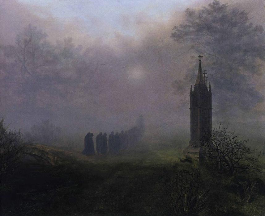 Procession in the Mist, 1828 by Ernst Ferdinand Oehme (1797-1855, Germany) | WahooArt.com