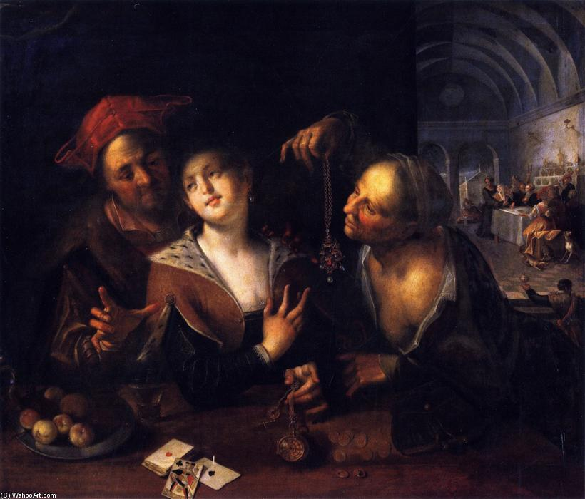 A Procuress with a Couple, 1605 by Hans Von Aachen (1552-1615, Germany) | Museum Quality Copies Hans Von Aachen | WahooArt.com