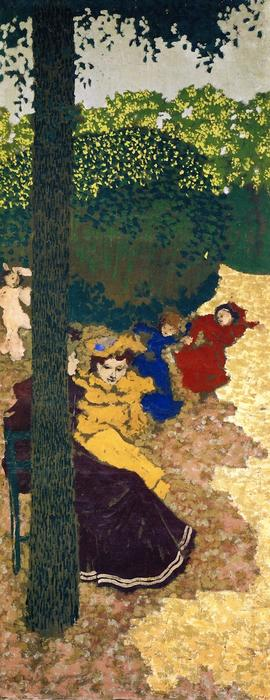 The Public Gardens - Young Girls Playing, Painting by Jean Edouard Vuillard (1868-1940, France)